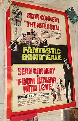 "THUNDERBALL & FROM RUSSIA WITH LOVE 40""x60"" DRIVE-IN  Original James Bond Poster"