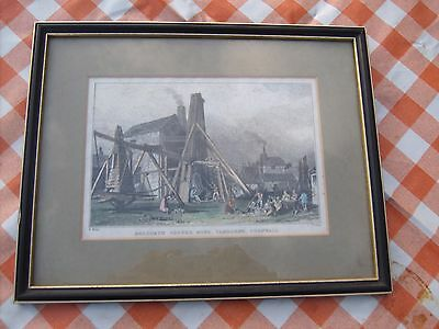 Antique framed print of Dolcoath Copper Mine, Camborne, Cornwall
