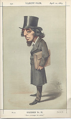"Vanity Fair 1869  print Statesmen No 10 The Right Hon James Stanfield 9"" x 14"""