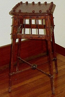 "Antique Ornate Oak Ball & Stick Plant Stand - One Of A Kind - 22"" Tall"