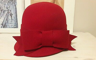 Red 1920s style cloche hat