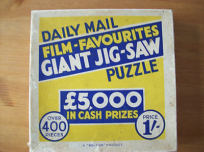 Vintage 1930s Giant Jigsaw Puzzle Daily Mail Film Favourites