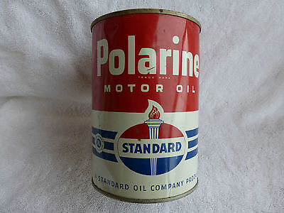 Polarine One Quart Tin Can / Standard Oil/ Gas and Oil Advertising