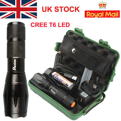 UK X800 Shadowhawk Tactical T6 Flashlight 18650 Battery Charger Torch 5000LM HOT