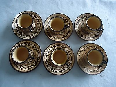 vintage greek coffey set 6 small coffee cups saucers painted by D Vassilopoulous