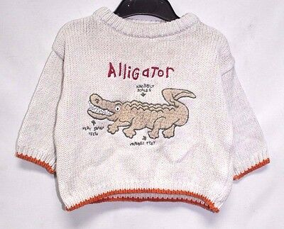 Baby Boy's M&S Crew Neck Long Sleeve Knitted Embroidered Jumper Size 6-12 M #306