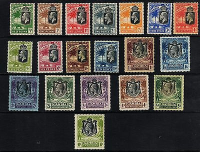 Gambia 1922 KGV- complete set - SG 122-142. Sc 101-120. - LHM