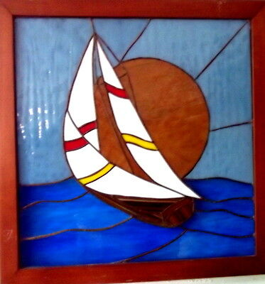 Hand Crafted Stained Glass Sailboat Wall Hanging