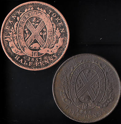 Canada 1837 & 1844 Half Penny Tokens Bank of Montreal - Copper see pics
