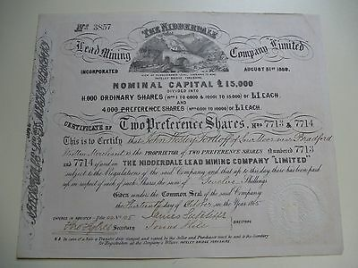 The Nidderdale Lead Mining Co Ltd Certificate For 2 Preference Shares - 1865