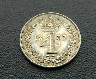 1837 William IV Maundy Fourpence aFDC Very Rare