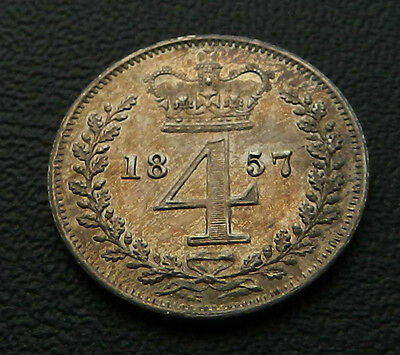 1857 Victoria Maundy Fourpence Brilliant UNC Attractive Toning Very Rare