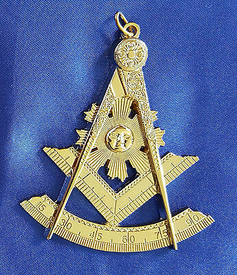 Masonic Collar Jewel Past Master Gold Freemason Mason