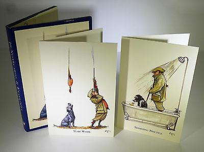 10 Bryn Parry UK Artist Note Cards Rare Collectable Set Cartoon Dogs Hunting