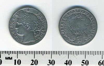 France 1871 - 1 Franc Silver Coin - (Small A)