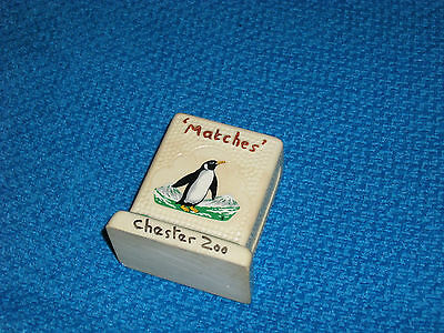 VINTAGE POTTERY ~  MATCH BOX HOLDER & STRIKER by MANOR WARE 'CHESTER ZOO'