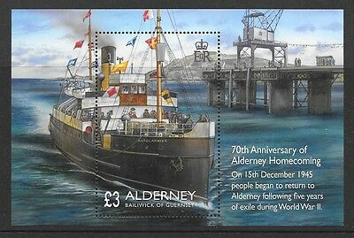 ALDERNEY 2015 7Oth ANNIVERSARY OF HOMECOMING MINIATURE SHEET MNH