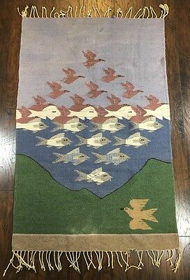 """Vtg Mid Century MC Escher Style Wool Rug Tapestry Wall Hanging 35.5"""" x 60"""""""