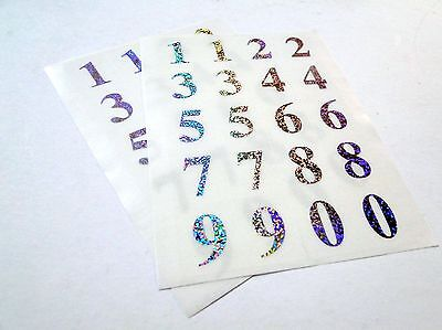 IVY 1-10 Number Labels Stickers Gold Holographic Metallic Shiny Self Adhesive
