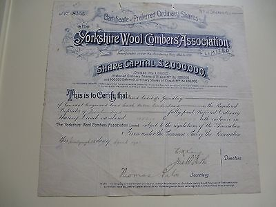 The Yorkshire Wool Combers' Assoc Ltd Cert For 400 Shares Of £1 Each - 1903