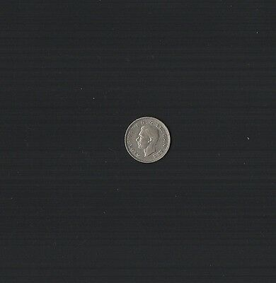 1943 King George VI .500 Silver Sixpence Coin