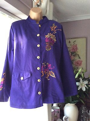 Size 10-12 Jacket Purple / Chinese Flower Embroidery