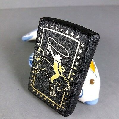 Zippo Rodeo American Cowboy Black Crackle Brass Limited Edition Lighter NR