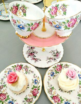 Vintage Pink Roses Bone China Tea Cup Saucer Tea Set For Two With Cake Stand