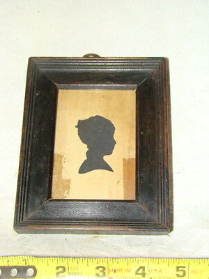 Antique 18th Early 19th C Hand Cut Silhouette Of A Child Black Pt Molded Frame