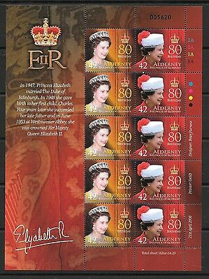ALDERNEY 2006 QUEEN ELIZABETH 80TH BIRTHDAY 42p STAMPS SHEETLET MNH