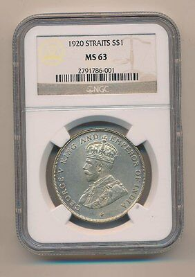 Straits Settlements 1920 $1 Dollar Emperor India George V Ngc Ms63 Silver