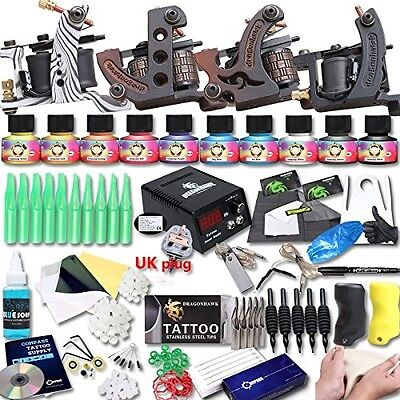 DragonHawk Upgrade Full Set Tattoo Kit 4 Machines USA Brand Immortal Inks CE UK