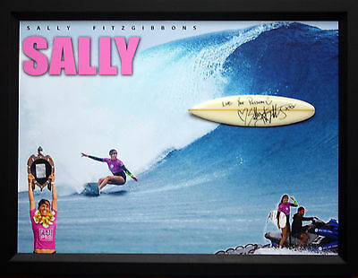 Sally Fitzgibbons World Asp Professional Surfer Signed Mini Board Framed Coa