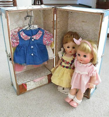 Two Vintage 10.5 Inch Hard Plastic Walker Dolls in Trunk with Clothing EEGEE R&B