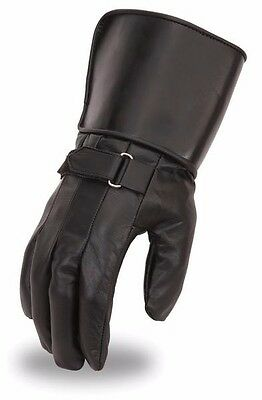 Men's Light Lined Gauntlet Genuine Leather Motorcycle Riding Cruiser Gloves