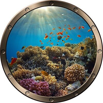 """12"""" Porthole Ocean Window View CORAL REEF #1 ROUND Wall Graphic Decal Sticker"""