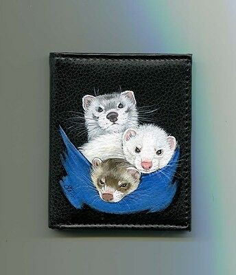 THREE FERRETS Hand Painting on Black Leather Wallet Original Art by Stef*