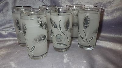 Vintage Libbey Frosted Wheat Juice Glasses 6 6 ounce flat bottom glasses 1960