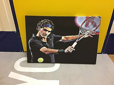 """Roger Federer Painted Canves - Size: 30"""" x 20"""" (82 x 51 cm)"""