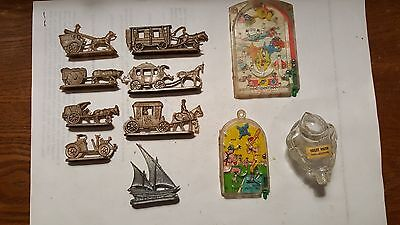 Small Lot of Vintage Items Plastic Toysx8,Very Small Hand Held Pinball,Glass Toi