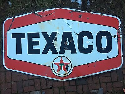 Rare LARGE 8' 1950's Texaco Gasoline Motor Oil Porcelain 2 Sided Sign Farm Fresh
