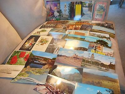 """lot of 36 assorted """"used"""" vintage postcards (29 w/stamps affixed)"""