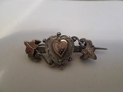 Victorian Sterling Silver Engagement/Marriage/Sweetheart Brooch:Gold Overlays