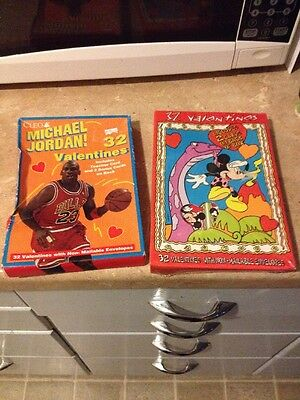 Vtg Lot Of 2 Boxes Unused Valentine Cards Jordan, Mickey Mouse