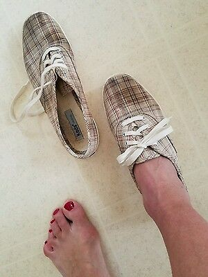 Keds Plaid Canvas Well Worn Sneakers Shoes Women's Size 7 USED