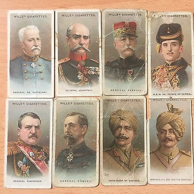 Vintage Cigarette Cards  W. D. & H. O. Wills 1917 Allied Army Leaders (x8) P-FC