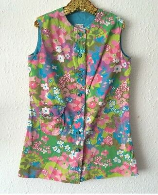 Vintage St Michael 1970s Psychedelic Hippy Floral Towel Tunic Pinafore Dress 8 Y