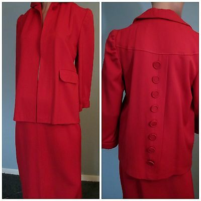 Vintage 1940s Womens Skirt Suit Jacket True Red Mar Lee Designer