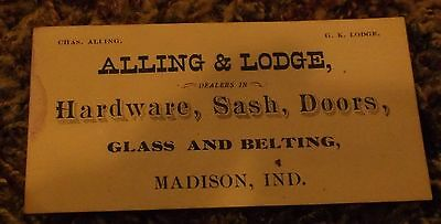 old PAPER CALLING CARD BUSINESS CARD ALLING & LODGE MADISON IN HARDWARE