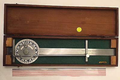 Vintage Kenyon Marine Protractor In Wooden Case Antique Maritime Drafting Tool